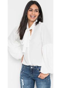 Blusa Gola Laço Branca