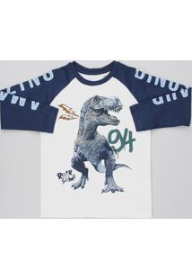 Camiseta Infantil Flamê Dinossauro Manga Longa Raglan Gola Careca Branca