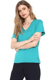 Camiseta Morena Rosa Lisa Com Detalhe Barra Verde