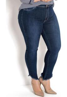 Calça Cigarrete Plus Size Barra Desfiada Jeans