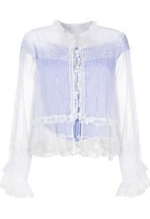 Ermanno Scervino Blusa Translúcida Com Babados - Azul