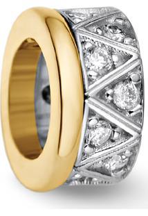 Pingente Ouro Amarelo Ouro Branco E Diamantes 7 Mm