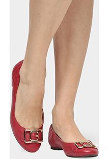 Sapatilha Couro Shoestock Fivela Feminina - Feminino-Vermelho