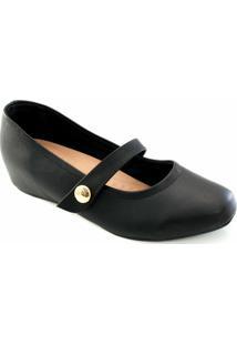 Sapatilha Sapato Show Bico Quadrado Feminina - Feminino-Preto