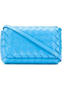 Bottega Veneta Bolsa Transversal Mini Com Trama Intrecciato - Azul