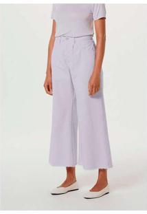 Calça Feminina Wide Leg Em Sarja De Algodão Roxo
