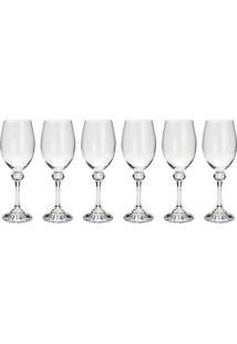 Jogo 6 Taças Para Vinho Branco Bohemia Elisa 250Ml Cristal Ecológico