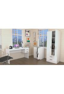 Conjunto Escritório Office Plus Appunto 3 Peças: Escrivaninha Com 2 Gavetas, Balcão E Armário Com Portas E Gavetas - Branco