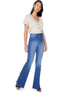 Calça Jeans Flare Barra A Fio