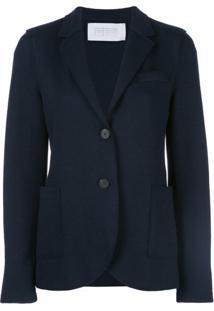 Harris Wharf London Blazer Slim Com Abotoamento Simples - Azul