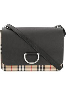 Burberry Medium Vintage Check And Leather D-Ring Bag - Preto
