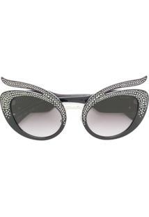 Miu Miu Eyewear Óculos De Sol Com Aplicações De Cristais Swarovski - Preto