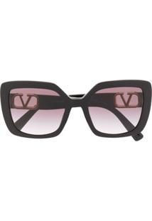 Valentino Eyewear Óculos De Sol Oversized Vlogo - Preto
