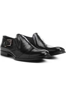 Sapato Social Couro Shoestock Fivela Lateral - Masculino-Preto