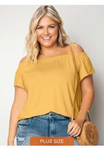 Blusa Amarela Malha Trabalhada