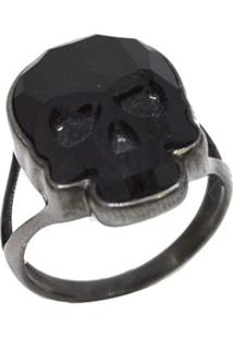Anel La Madame Co Power Skull Negro Banhado A Ródio Negro