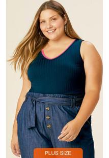 Blusa Azul Marinho Canelada Com Decote V Plus