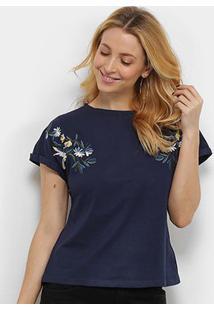 Camiseta Pérola Bordada Manga Curta Feminina - Feminino-Marinho