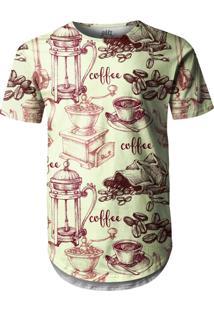 Camiseta Longline Over Fame Café Bege