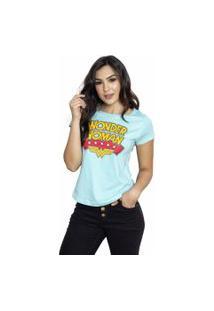 Camiseta Sideway Mulher Maravilha Logo - Azul