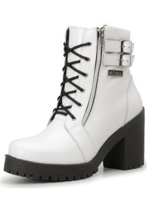 ed7302bfb ... Bota Coturno Cano Curto Atron Shoes Couro Branco Verniz