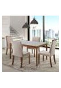 Sala De Jantar Com Mesa 1,35M E 4 Cadeiras Joy - Laca Branco/Castanho.