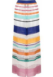 Missoni Mare Calça De Tricô Com Listras Translúcidas - Branco