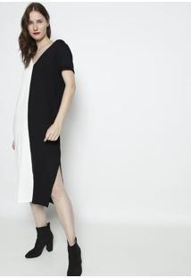 Vestido MãDi Com Recortes & Fendas - Preto & Off White