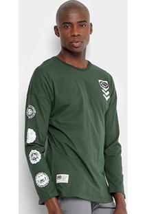 Camiseta Ecko Manga Longa Estampada Masculina - Masculino-Verde