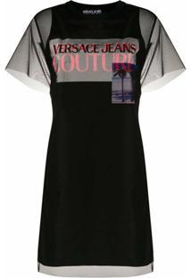 Versace Jeans Couture Vestido Reto Com Sobreposição Translúcida - Preto