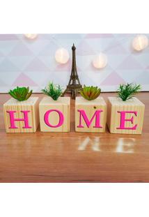 Cubo Decorativo Com Suculenta E Letras Em Acrílico Home