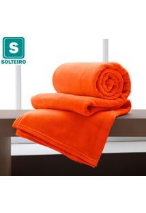 Cobertor/ Manta Solteiro De Microfibra Soft Toque De Seda Home Design Laranja - Corttex