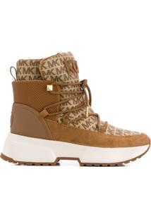 Michael Michael Kors Ankle Boot Cassia Jacquard Com Logo - Marrom