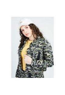 Jaqueta Sarja Camuflada Verde Gang Feminina