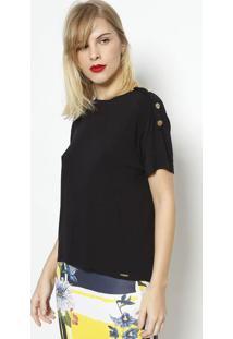 Camiseta Com Botões- Pretadimy