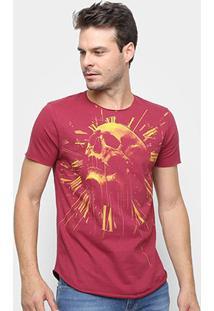 Camiseta Long Skull Clock Derek Ho Caveira Masculina - Masculino-Vermelho
