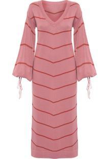 Vestido Tricô Listrado - Rosa