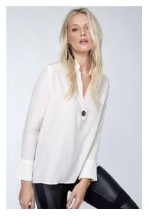Camisa Seda Polo Ilhos Lisa Inv 19.1 Off White