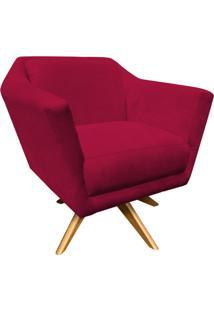 Poltrona Decorativa Lorena D'Rossi Suede Vermelho Com Base Giratória De Madeira