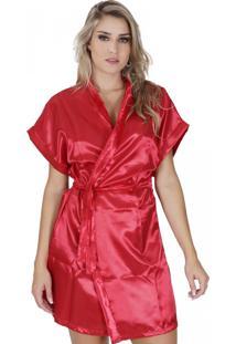 Robe Click Chique Em Cetim Com Amarradura Vermelho
