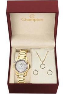Kit Relógio Champion Analógico Cn28660W Feminino - Feminino-Dourado