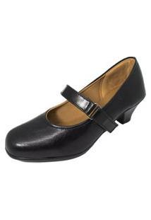 Sapato Social Boneca Fechado Salto Baixo Confort Preto