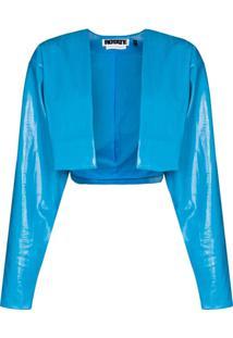 Rotate Magrit Vegan Leather Jacket - Azul