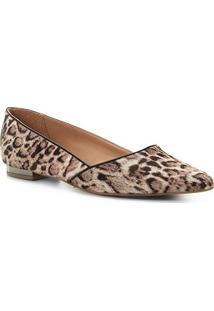 Sapatilha Couro Shoestock Bico Fino Panther Feminina - Feminino-Cinza