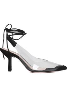 Scarpin Lace-Up Vinil Clear - Preto