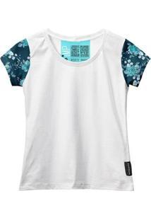 Camiseta Baby Look Feminina Algodão Estampa Flor Manga Curta - Feminino-Branco+Azul