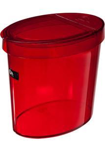 """Lixeira Oval 5L Com Borda Para Esconder Saco De Lixo """" Ideal Para Pia """" Cor Vermelha Transparente Retrô - Coza"""
