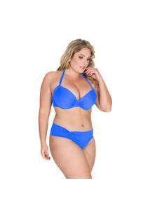 Top Avulso Drapeado De Biquíni Anaju Plus Size Azul Royal