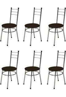 Kit 6 Cadeiras Baixas 0.236 Redonda Cromado/Tabaco - Marcheli