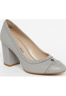 Sapato Tradicional Em Couro Com Microfuros - Cinza Clarocapodarte